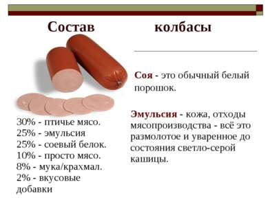 Состав колбасы 30% - птичье мясо. 25% - эмульсия 25% - соевый белок. 10% - пр...