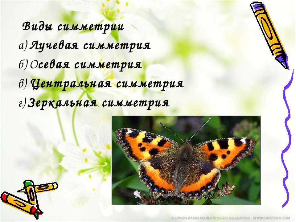 Виды симметрии а)Лучевая симметрия б)Осевая симметрия в)Центральная симме...