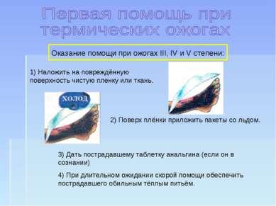 Оказание помощи при ожогах III, IV и V степени: 1) Наложить на повреждённую п...