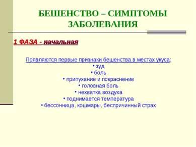 БЕШЕНСТВО – СИМПТОМЫ ЗАБОЛЕВАНИЯ 1 ФАЗА - начальная Появляются первые признак...