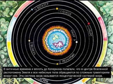 В античные времена и вплоть до Коперника полагали, что в центре Вселенной рас...
