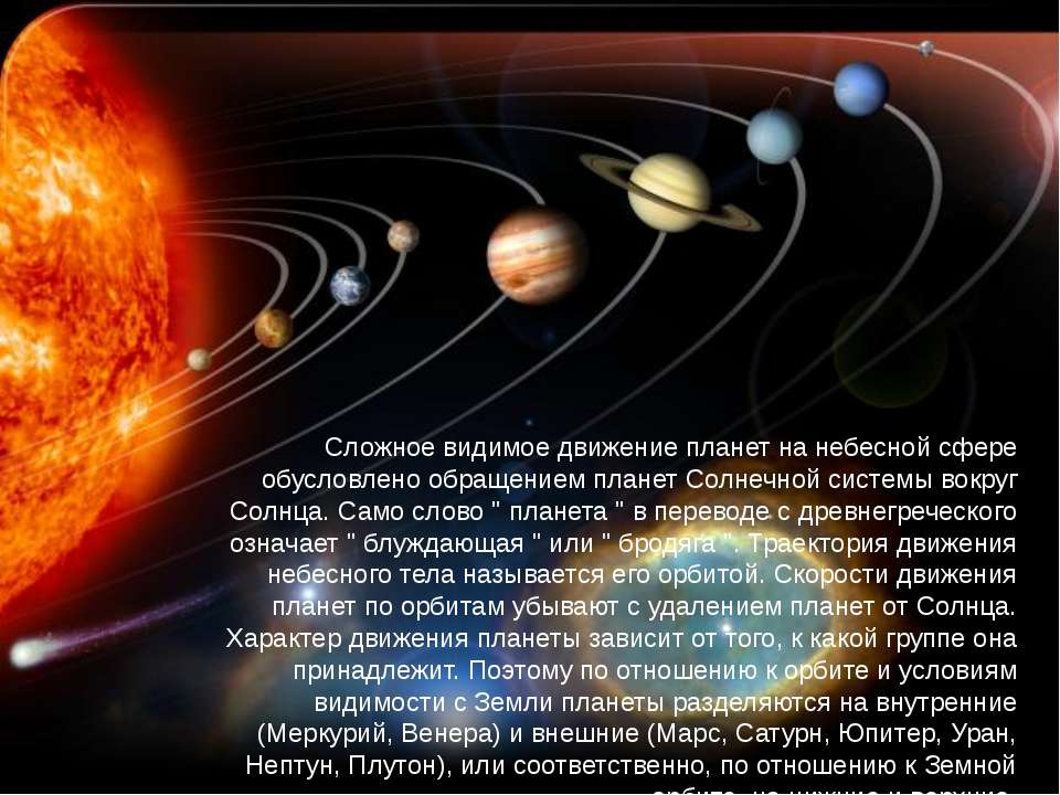 Сложное видимое движение планет на небесной сфере обусловлено обращением план...