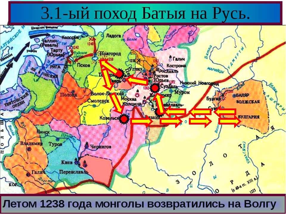 3.1-ый поход Батыя на Русь. Летом 1238 года монголы возвратились на Волгу Меню