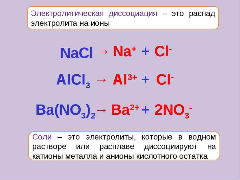 Электролитическая диссоциация – это распад электролита на ионы Соли – это эле...