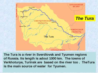 The Tura is a river in Sverdlovsk and Tyumen regions of Russia. Its length is...