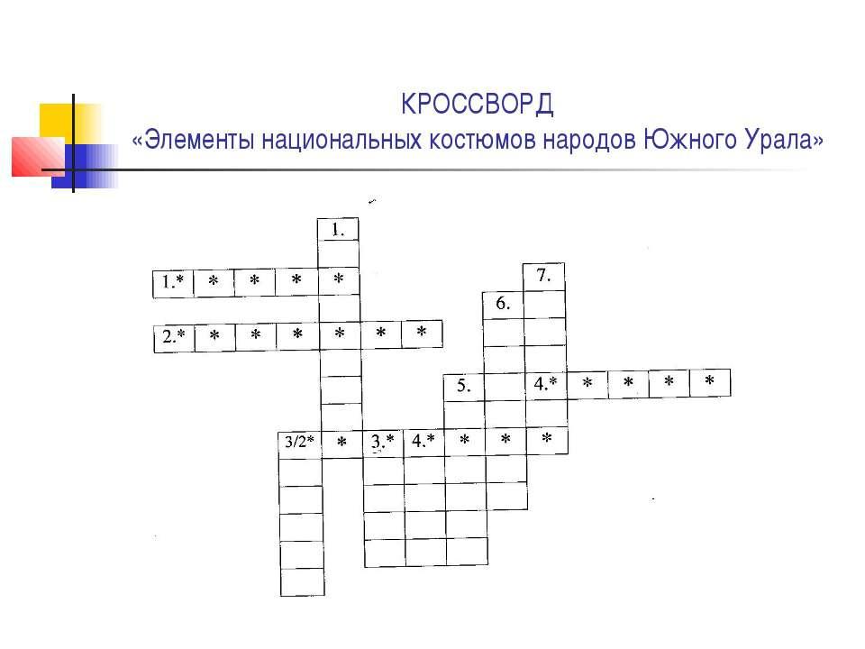 КРОССВОРД «Элементы национальных костюмов народов Южного Урала»
