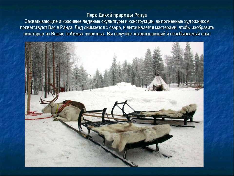 Парк Дикой природы Рануа Захватывающие и красивые ледяные скульптуры и констр...