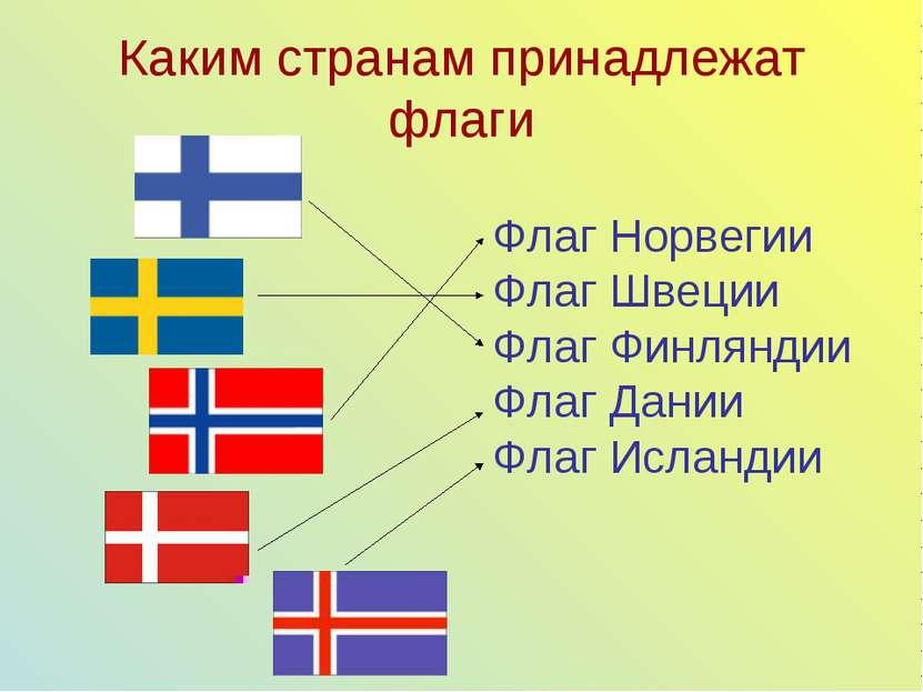Каким странам принадлежат флаги Флаг Норвегии Флаг Швеции Флаг Финляндии Флаг...