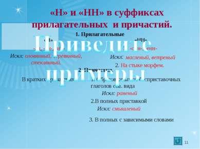 «Н» и «НН» в суффиксах прилагательных и причастий. «Н» -ан, -ян-, -ин- маслен...