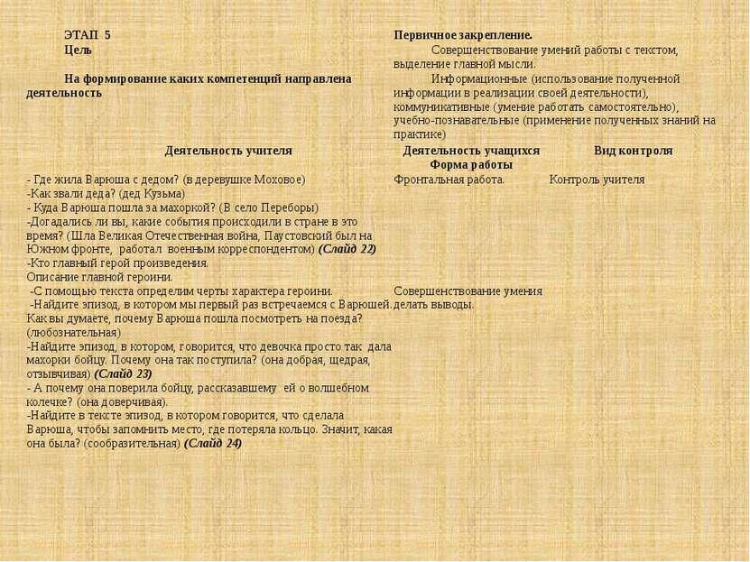ЭТАП 5 Первичное закрепление. Цель Совершенствование умений работы с текстом,...