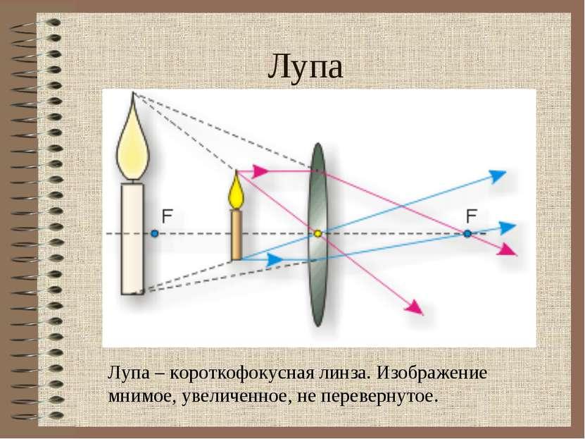 Лупа Лупа – короткофокусная линза. Изображение мнимое, увеличенное, не переве...