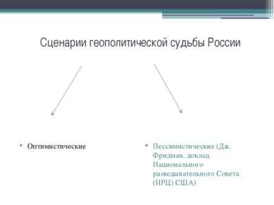Сценарии геополитической судьбы России Оптимистические Пессимистические (Дж. ...