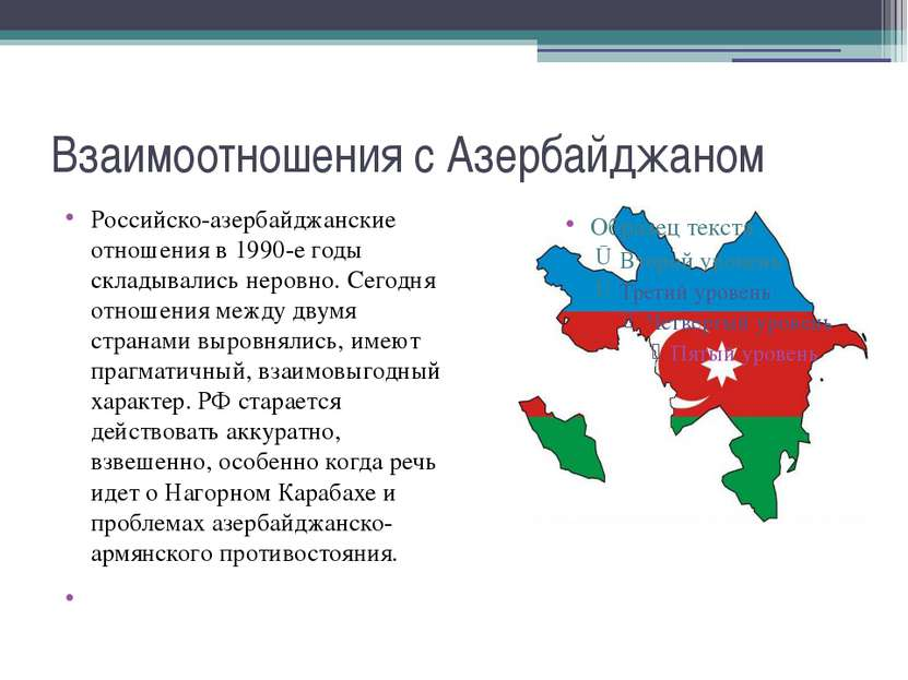 Взаимоотношения с Азербайджаном Российско-азербайджанские отношения в 1990-е ...
