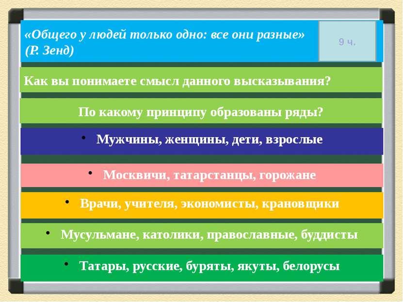 По какому принципу образованы ряды? Мужчины, женщины, дети, взрослые