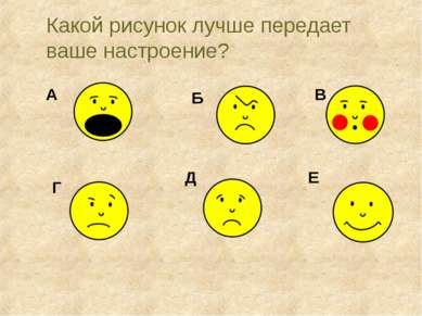 Какой рисунок лучше передает ваше настроение? А Б В Г Д Е Sorokovyh E.N.