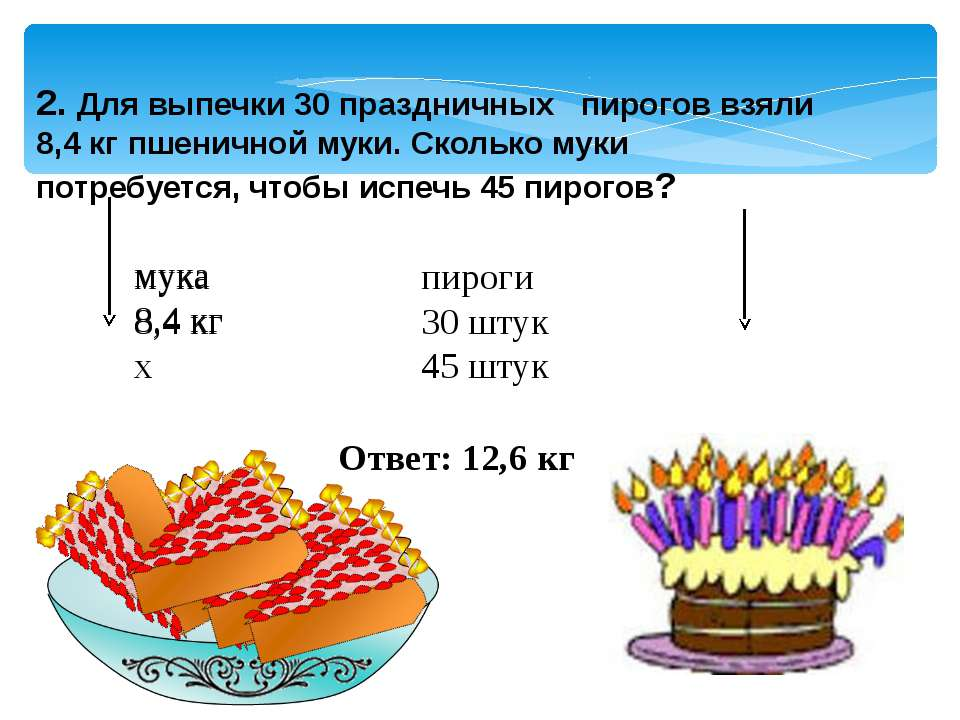 2. Для выпечки 30 праздничных пирогов взяли 8,4 кг пшеничной муки. Сколько му...