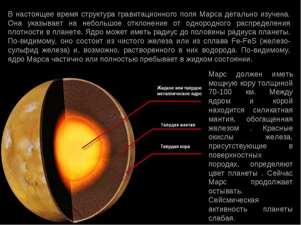 В настоящее время структура гравитационного поля Марса детально изучена. Она ...