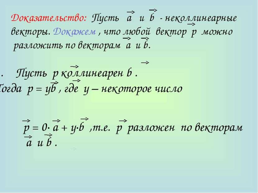 Доказательство: Пусть а и b - неколлинеарные векторы. Докажем , что любой век...