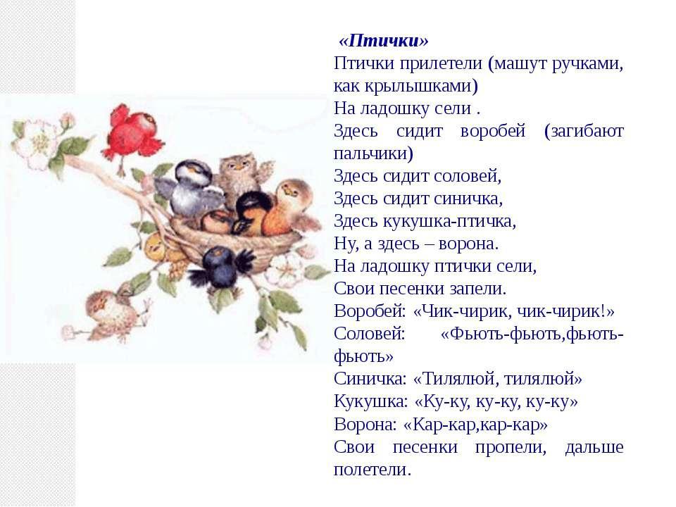 «Птички» Птички прилетели (машут ручками, как крылышками) На ладошку сели . З...