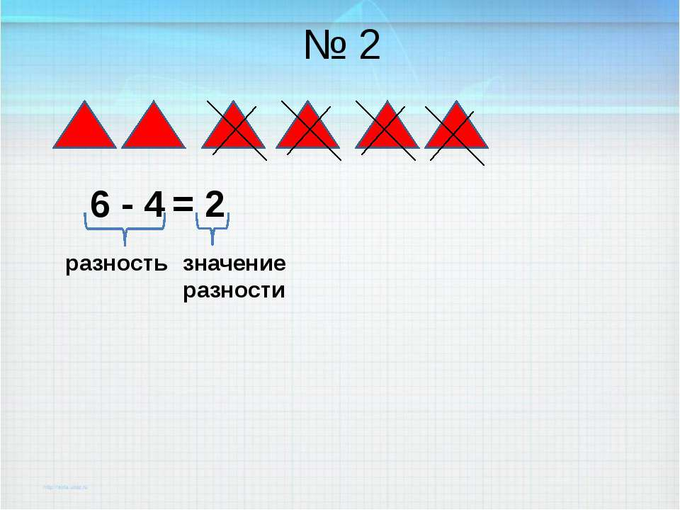 № 2 6 - 4 = 2 разность значение разности