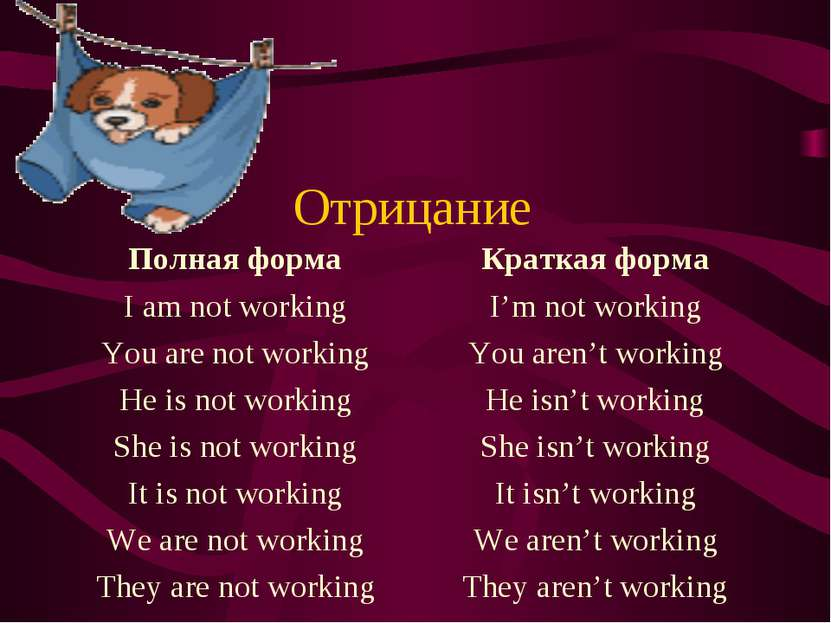 Отрицание Полная форма I am not working You are not working He is not working...