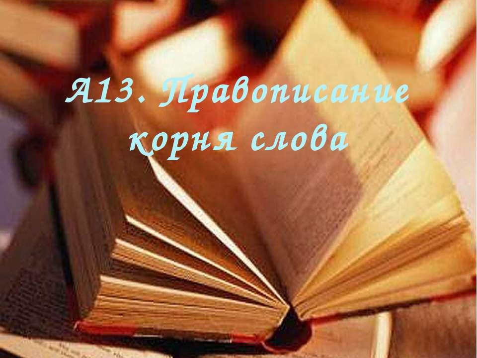 А13. Правописание корня слова