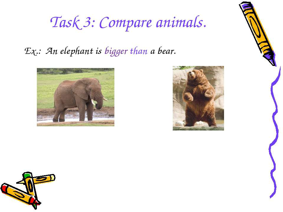 Task 3: Compare animals. Ex.: An elephant is bigger than a bear.