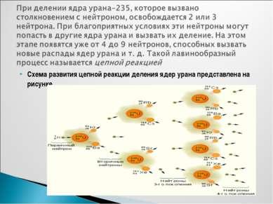 Схема развития цепной реакции деления ядер урана представлена на рисунке