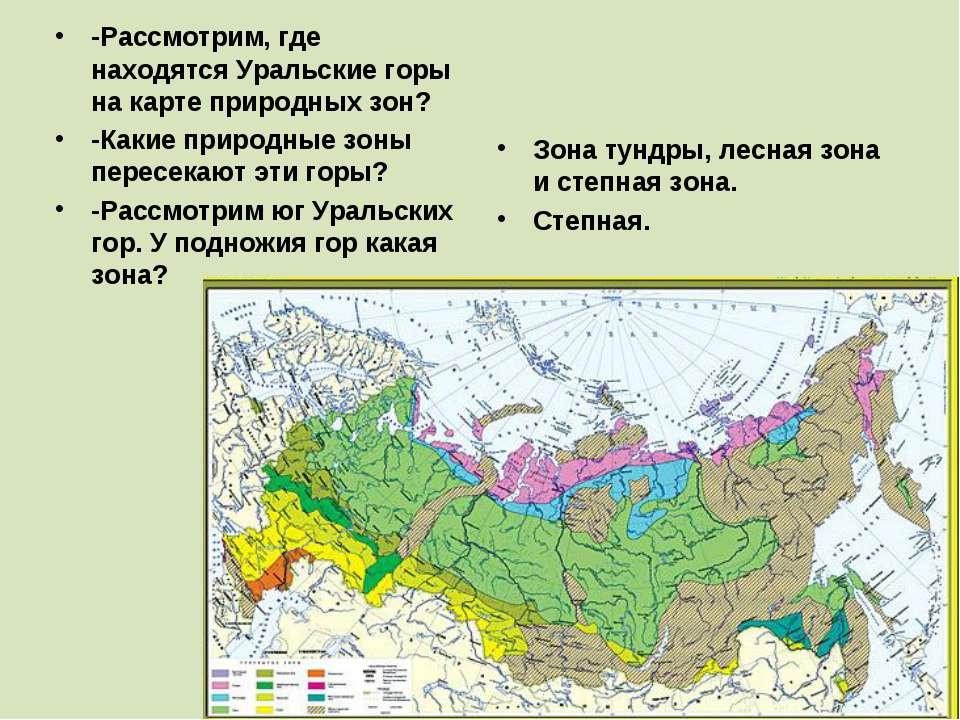 -Рассмотрим, где находятся Уральские горы на карте природных зон? -Какие прир...