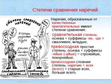 Степени сравнения наречий Наречия, образованные от качественных прилагательны...