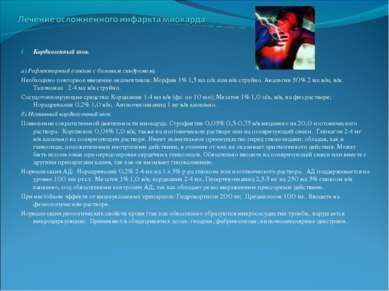 Кардиогенный шок. а) Рефлекторный (связан с болевым синдромом). Необходимо по...