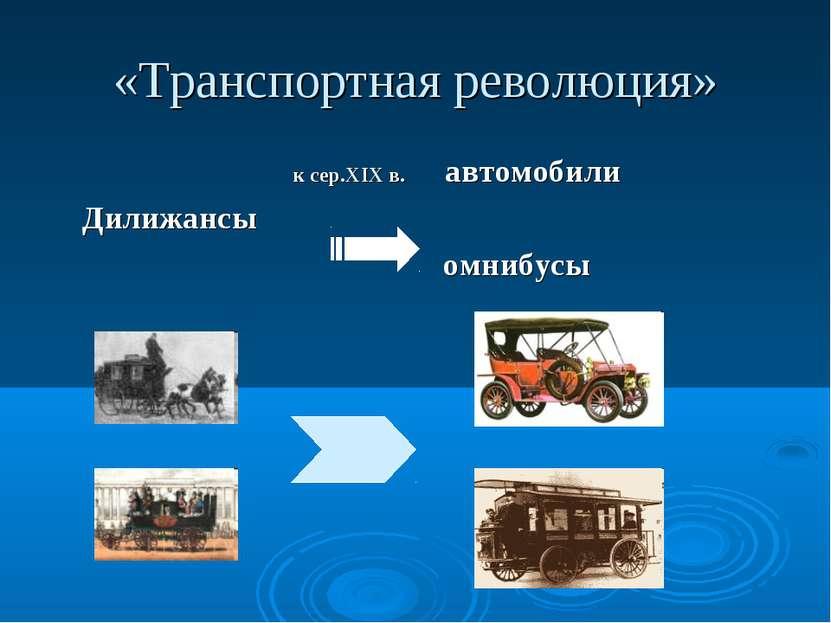 «Транспортная революция» к сер.XIX в. автомобили Дилижансы омнибусы