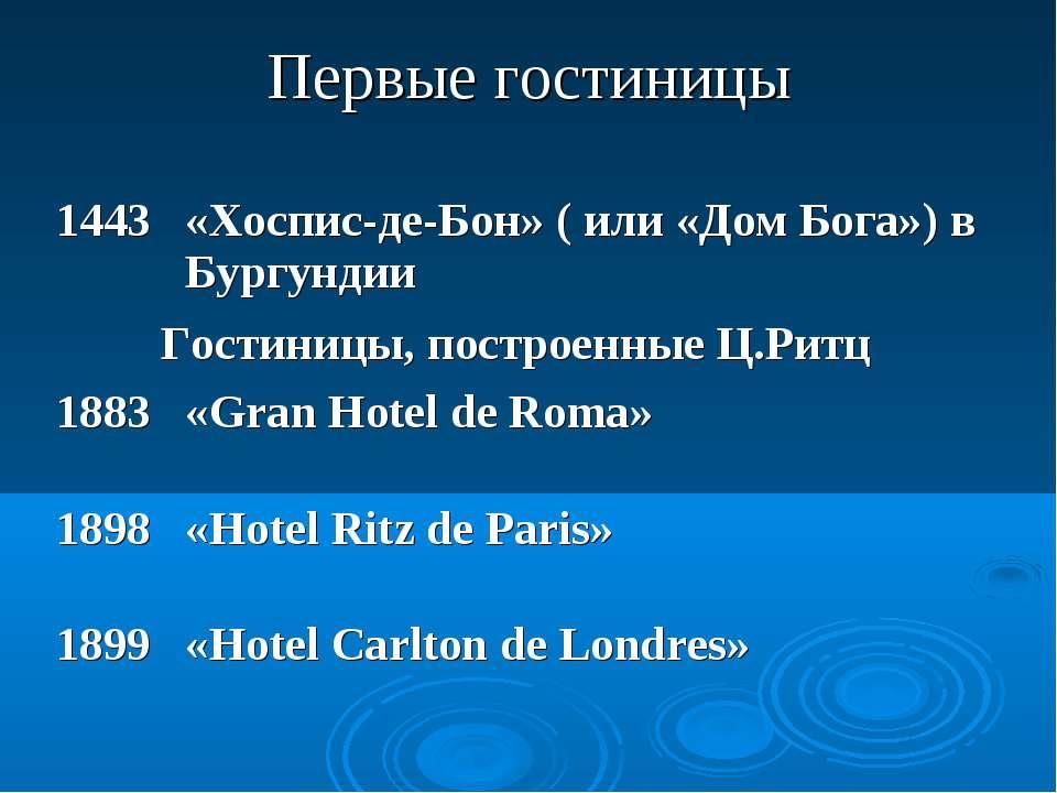 Первые гостиницы