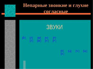 Непарные звонкие и глухие согласные ЗВУКИ [Й,] [Л] [Л,] [М] [М,] [Н] [Н,] [Р]...