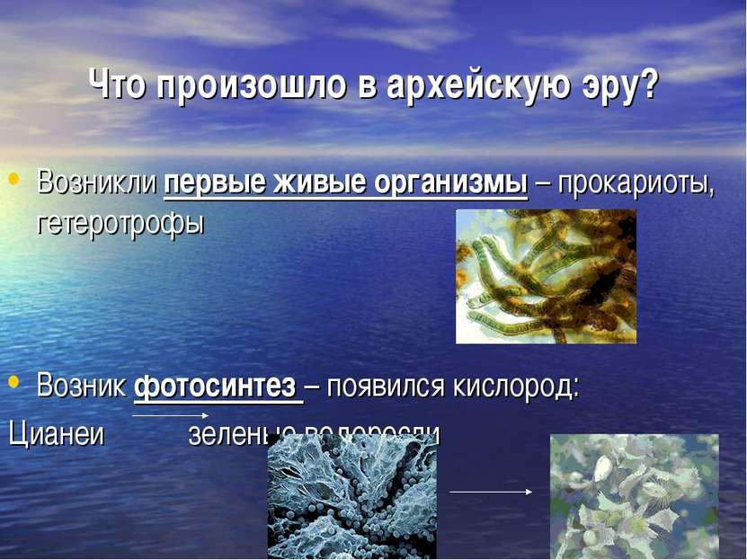 Что произошло в архейскую эру? Возникли первые живые организмы – прокариоты, ...
