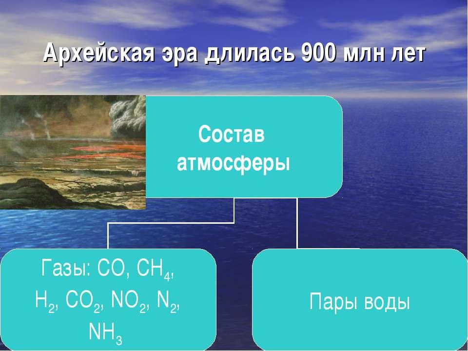 Архейская эра длилась 900 млн лет