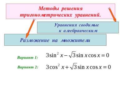 Методы решения тригонометрических уравнений. Разложение на множители Вариант ...