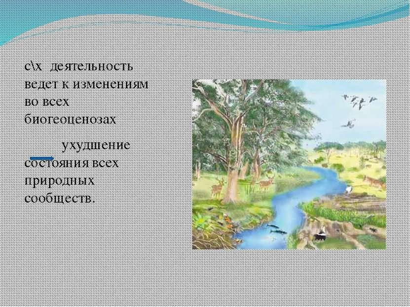 с\х деятельность ведет к изменениям во всех биогеоценозах ухудшение состояния...