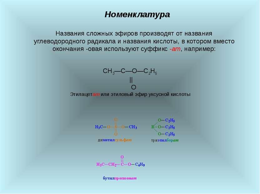 Номенклатура Названия сложных эфиров производят от названия углеводородного р...