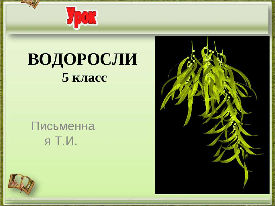 ВОДОРОСЛИ 5 класс Письменная Т.И. http://aida.ucoz.ru