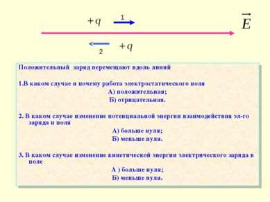 Положительный заряд перемещают вдоль линий 1.В каком случае и почему работа э...