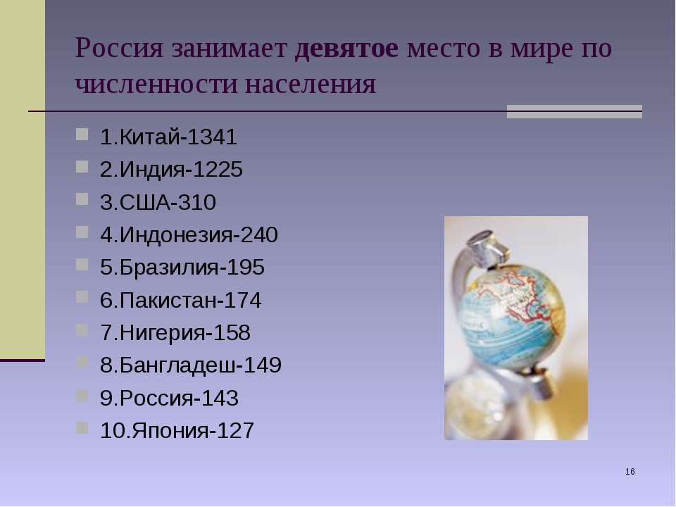 * Россия занимает девятое место в мире по численности населения 1.Китай-1341 ...