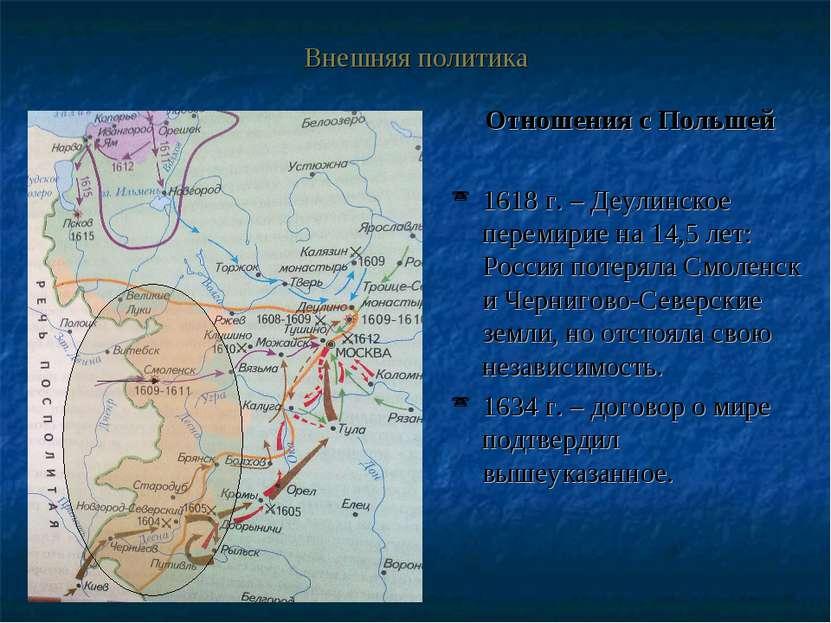 Внешняя политика Отношения с Польшей 1618 г. – Деулинское перемирие на 14,5 л...