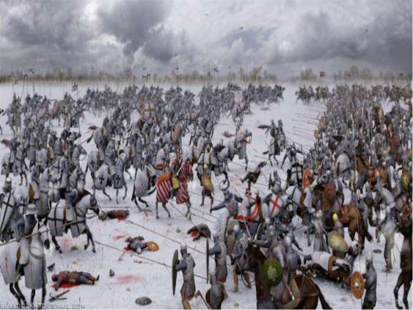 Мы видим схему сражения. Немецкие рыцари для атаки выстроились в форме тупого...