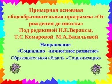 Примерная основная общеобразовательная программа «От рождения до школы» Под р...