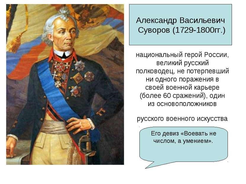 национальный геройРоссии, великий русский полководец, не потерпевший ни одно...