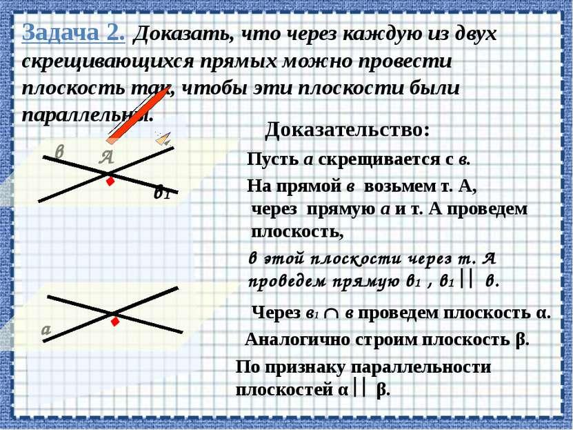 Задача 2. Доказать, что через каждую из двух скрещивающихся прямых можно пров...