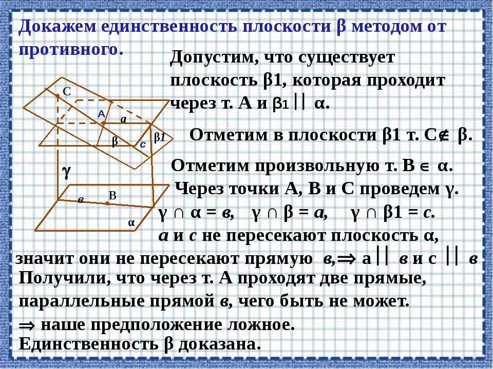 β • А α Докажем единственность плоскости β методом от противного. • С • В в с...