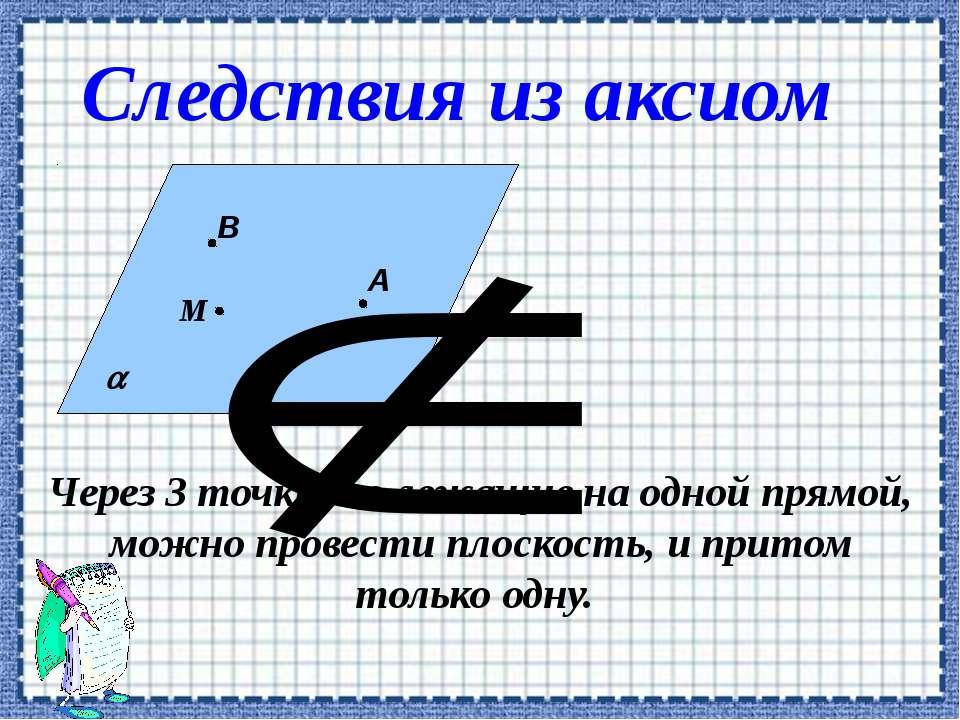 Через 3 точки, не лежащие на одной прямой, можно провести плоскость, и притом...