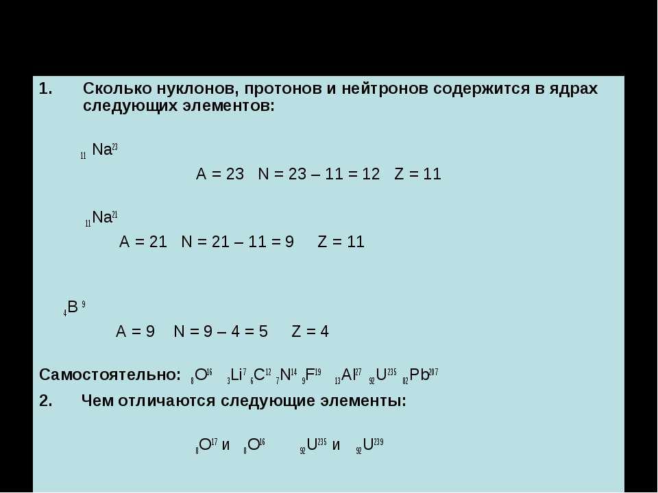 Решение задач: Сколько нуклонов, протонов и нейтронов содержится в ядрах след...